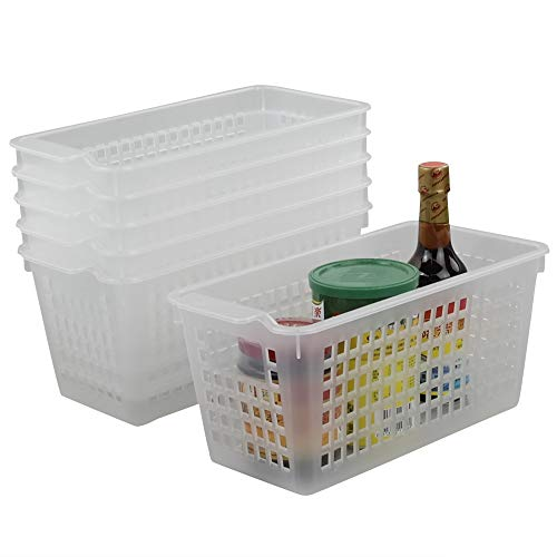Qsbon Clear Plastic Storage Trays Basket for Closets, Countertop and Drawers, 6-Pack
