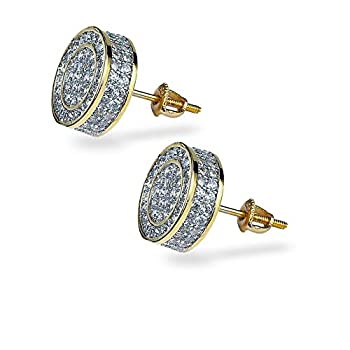TOPGRILLZ 925 Sterling Silver Iced out CZ Premium Diamond Cluster Zirconia Round Screw Back Stud Earrings for Men Hip Hop Jewelry  Gold Big Circle
