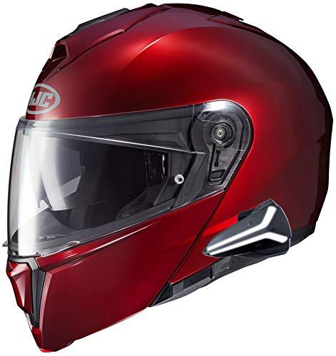 HJC i90 Modular Motorcycle Helmet With Sena 20B Bluetooth Headset Wine 3X-Large