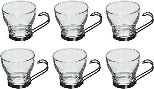 Bormioli Rocco 6 stuks Oslo glas espressokopjes Set - Little Tempered kopjes koffie - roestvrijstalen handgreep - 100ml
