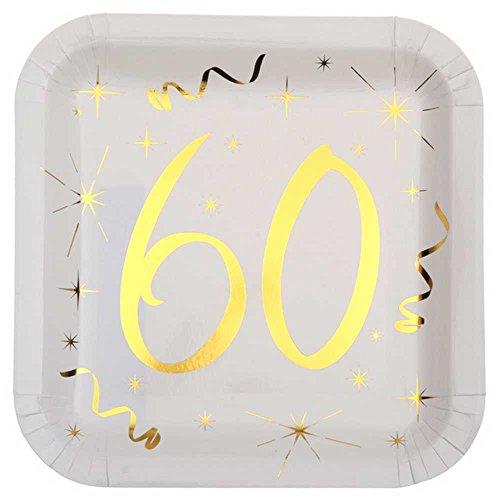 Chal - 10 Assiettes anniversaire 60 ans blanc et or