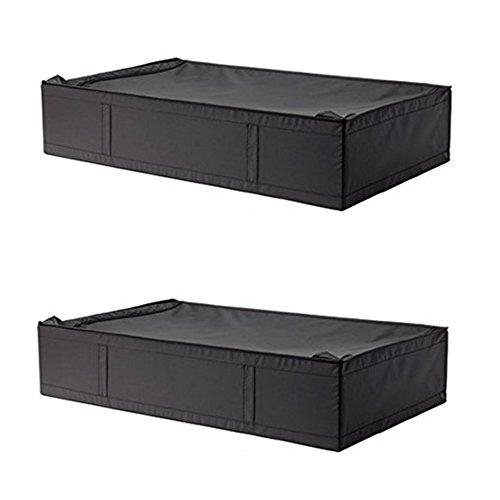 "IKEA Skubb Underbed Storage Case with Zipper. Approx 36 ½"" x 21 ¾"" x 7 ½"" (2, Black)"