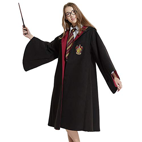Amycute Kostüm Harry Potter Grifondoro Deluxe Bademantel + Mago Rotondi + Zauberstab aus Kunststoff