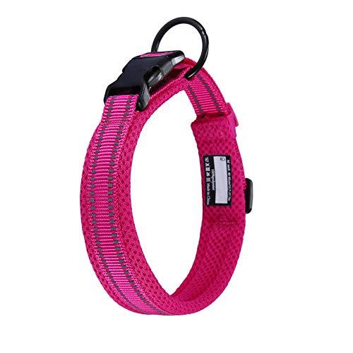 Collar para Perros Pequeños Grandes Medianos Reflectante Suave Acolchado Impermeable Ajustable Transpirable con Etiqueta de Nombre para Caminar Correr Trekking Entrenamiento (Rosa, XS)