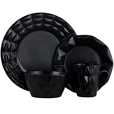 Elama 930102842M Elm-Retrochic-Black 16pc Dinnerware Set