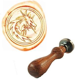 MDLG Filigree Fire Dragon Wax Seal Stamp Rosewood Handle Set Xmas Invitations Package Sealing Stamp Vintage Animal Wax Sea...