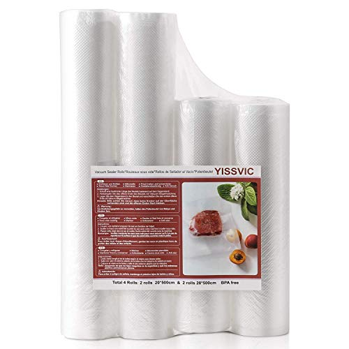 Yissvic Folienrollen x4, Vakuumrollen Profi Folienbeutel 20x 500cm 28x 500cm Vakuumierfolie für Vakuumiergerät ideal für Mikrowellen Sous Vide (Verpackung MEHRWEG)