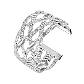 OCTCHOCO Egyptian Arm Bracelet Upper Arm Metal Wire Woven Arm Cuff Jewelry Arm Band Bangle for Women 3.1   Silver