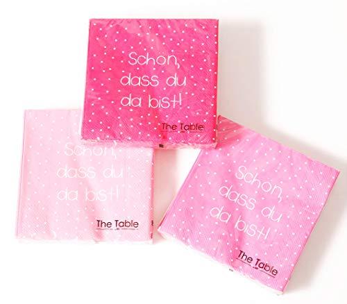 3er Set Servietten 3-lagig 33 x 33 cm Rosa/Pink Motiv - Schön, dass du da bist - Tischdeko