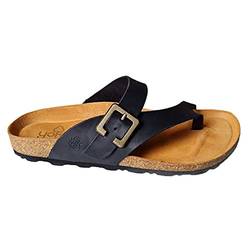 YOKONO - flache Casual Sandale - Leder, Schwarz - Sprinter, schwarz - Größe: 39 EU