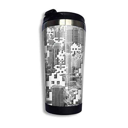 Taza de café de viaje de acero inoxidable, taza de viaje Space Invaders Taza de café Vaso aislado al vacío de acero inoxidable 13.5 oz