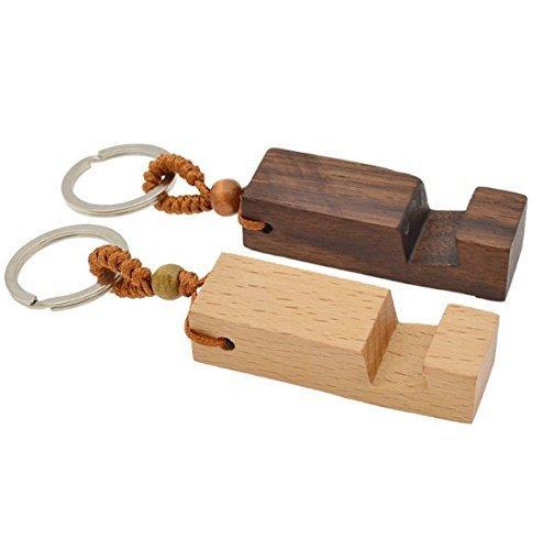 UChic Lot de 2 supports en bois pour siège de téléphone et clés avec anneau porte-clés - Cadeau pour homme et femme