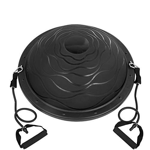 Balance Trainer, 1100LBS Half Balance Ball,Black,Exercise Half Ball with Resistance Bands and Foot Pump,for Yoga Fitness, Stability Workout, Strength Exercise, Physical Therapy & Gym