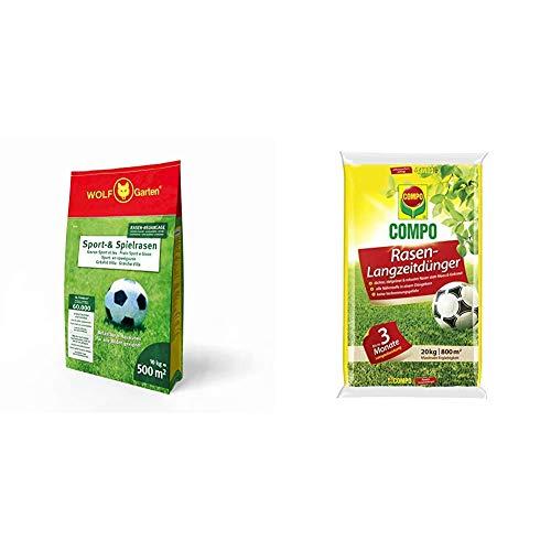WOLF-Garten - Sport- und Spiel-Rasen LG 500; 3825040 & COMPO Rasen-Langzeitdünger, 3 Monate Langzeitwirkung, Feingranulat, 20 kg, 800 m²