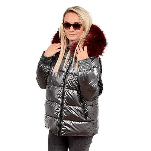 FOX FASHION Kurze Silber Gesteppte Damen Winterjacke mit Kapuze aus Waschbär Fell Pelz Steppjacke Daunenjacke mit Pelzbesatz Finn Raccoon Jacke Echtpelz Fellkapuze (M)