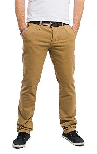 Banqert Herren Chino Hose-n Curepipes Männer Lange Slim-fit Freizeithose-n Pant-s aus zertifizierter Baumwolle, Herren-Hose Stoffhose-n, Beige Okker 33-32