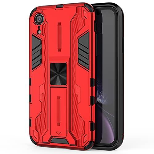 Eabhulie iPhone XR Funda, Doble Capa PC y TPU Bumper Antideslizante Resistente a Golpes Protectora Carcasa con Soporte Incoporado para iPhone XR Rojo