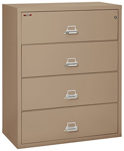 FireKing Fireproof Lateral File Cabinet (4 Drawers, Impact Resistant, Water Resistant), 44' W x 22' D, Taupe, Made in USA
