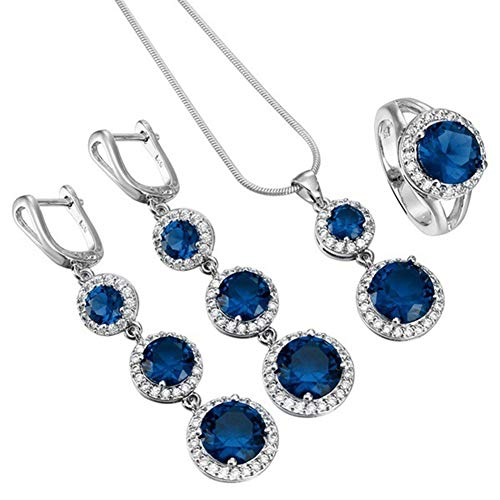 Afco 4Pcs/Set Women Girl Cubic Zirconia Inlaid Ring Huggie Earrings Necklace Fashion Jewelry US 7 Blue