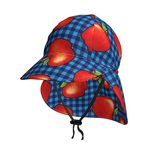 赤いりんご ベビー 帽子 キッズ 子供 日よけ 帽子 フラップキャップ 男の子 女の子 赤ちゃん UVカット つば広 太陽の帽子調節可能な UPF 50 紫外線対策 速乾 日除け 保育園 幼稚園 小学生