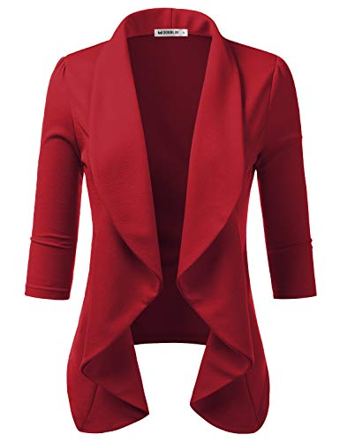 Doublju Womens Lightweight Thin 3/4 Sleeve Open Front Blazer with Plus Size? Red M