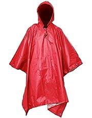 Impermeable 3 en 1 Impermeable Multifuncional Viajes al Aire Libre Lluvia Poncho Mochila Calidad Senderismo Cubierta de Lluvia Toldo Camping Camping Impermeable Tienda Moda (Color : Red)
