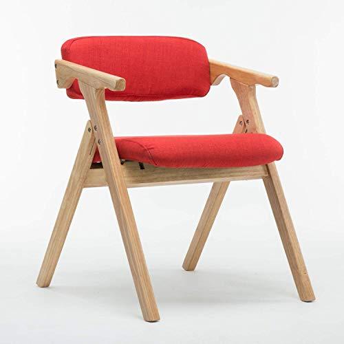 American Home Klappstuhl, Retro Massivholzrahmen Bequemer Kissenstuhl Mode Schlafzimmer Wohnzimmer Büro Salon Stuhl, Blau, Rot (Farbe: C)