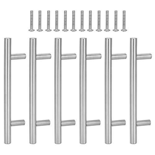 6 piezas de acero inoxidable Mango de barra en T Herrajes duraderos para muebles para armarios, cajones, cobertizos para gabinetes, manijas para cajones