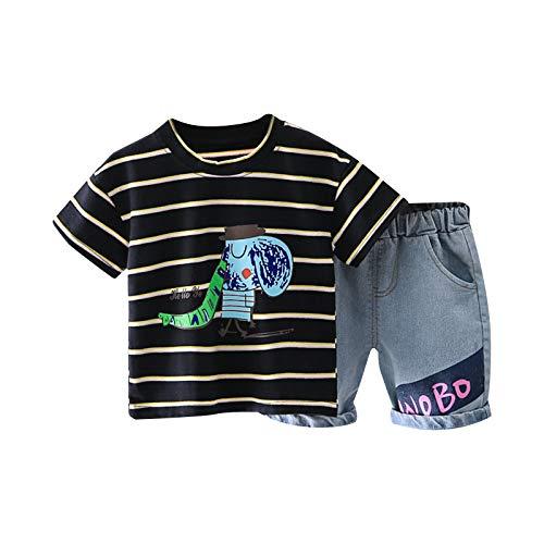Bebé 2 Piezas Traje de Ropa Deportiva para Niño Pequeño Conjunto Informal Chándal Camiseta de Manga Corta / Chaleco + Pantalones Cortos Ropa Verano para Chicos (Raya-Negro, 6-12 Meses)