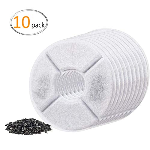 MEWTOGO 10 Pack Cat Fountain Filters- Pet Water Fountain Replacement Filters Filled with Activated Carbon for 1.6L Cat Automatic Water Dispenser