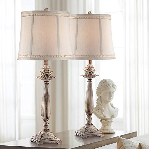 Shabby Chic French Country Table Lamps Set of 2 Antique White Washed Petite Artichoke Font Beige Fabric Bell Shade for Living Room Bedroom House Bedside Nightstand Home Office - Regency Hill