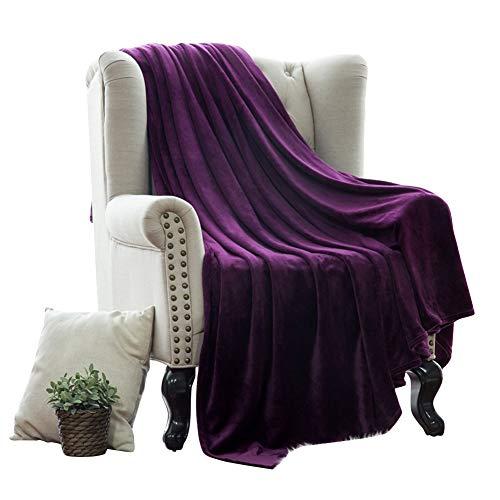 HONGBI Súper Suave Mantener Manta de Franela Cálida de Color Sólido Inicio Sofá Ropa de Cama Oficina Manta de Coche Textiles para El Hogar Púrpura 150X110CM