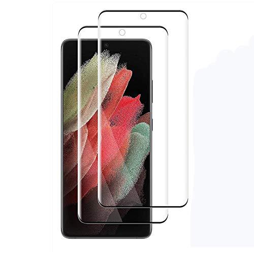 TLING Vetro Temperato per Samsung Galaxy S21 Ultra 5G, [2 Pezzi] 3D Copertura Completa Anti-Graffio 9H Durezza Pellicola Protettiva per Samsung Galaxy S21 Ultra 5G