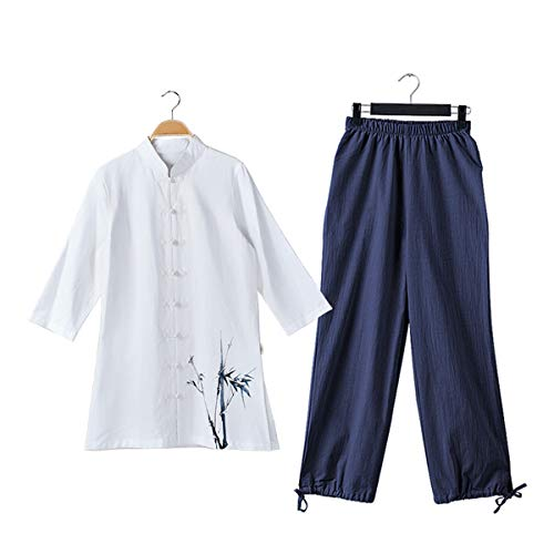 KSUA Frauen Martial Arts Anzug Baumwolle Tai Chi Uniform chinesische Kung Fu Kleidung Wing Chun Kleidung mit DREI Viertel Ärmeln, Grüner Bambus + Blaue Hose EU L/Etikett XL