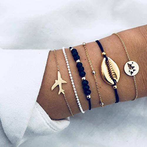 Yean Boho - Pulseras de conchas con cuentas, cadena de mano, correa de oro, accesorios de mano...