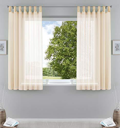 2er-Pack Gardinen Transparent Vorhang Set Wohnzimmer Voile Schlaufenschal mit Bleibandabschluß HxB 175x140 cm Creme, 61000CN