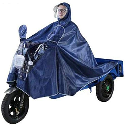 ZXL Regenjas, volwassenen, rijaccu voor motor, motorfiets, heren en dames, enkele dubbele poncho, verdikte regencape mantel, poncho vizier hoed, XXXXL regenkleding (F