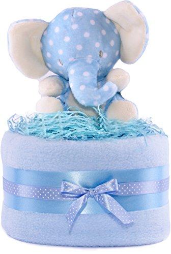 Cesta de Regalo para bebé con diseño de Elefante de la Selva para niños – Azul y Blanco