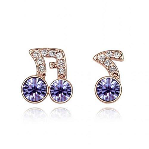 Katylen-Earring Kristall Ohrringe Rhythm Notes Asymmetrische Schmuck Ohrringe, Tansanit 5886