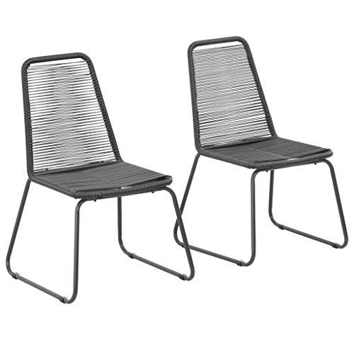 Festnight Lot de 2 Chaises de Jardin résine tressée Chaise d Exterieur Chaise pour terrasse 54 x 59 x 91 cm Noir