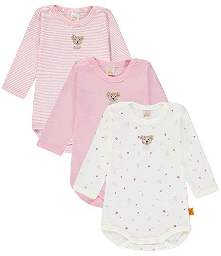 Steiff Baby-Mädchen 3tlg. Set Bodys 1/1 Arm Formender Body, Rosa (Barely Pink|Rose 2560), 68