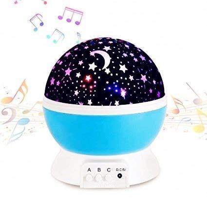 LaDenZ musical Sternenprojektor Nachtlicht für Babys und junge Kinder, inklusive Kleinkinder, wiederaufladbare batteriebetrieben, Mond- und Sternprojektor für Kinder