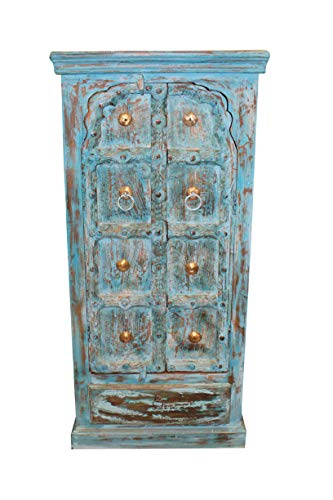 Indiatrendzs Turquoise Rustic Cabinet Reclaimed Wood Handmade Armoire Brass Stars Chest Farmhouse Storage