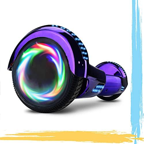 """MJK Hoverboard - 6,5"""" - Bluetooth - LED - Self Balancing Board Adulte - 700W - Smart Scooter Deux Roues - Skate Électrique Cadeaux Pas Cher-Adulte et Enfant-Chrome Violet"""