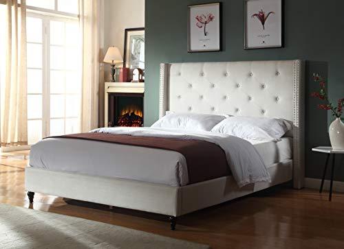 Best Master Furniture Vero Tufted Wingback Platform Bed, Cal. King Beige