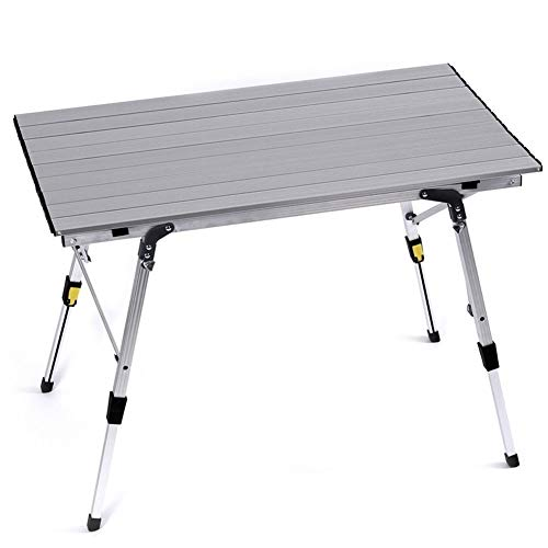 zhangmeiren Ultra-light Aluminum Alloy Outdoor Folding Table Portable Picnic Table And Barbecue Tables (Color : Gray-A, Size : Large)