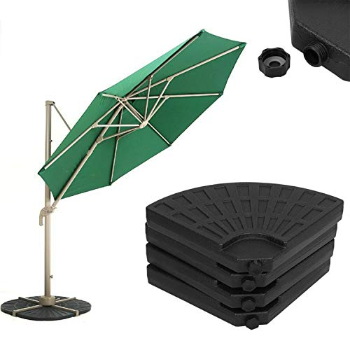 GEEZY 4 Piece Black Parasol Base Stand Weights for Banana Hanging Cantilever Umbrella Parasol