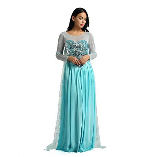 Yeahdor Damen Bodenlange Kleider Schneekönigin Kostüm Prinzsssin Kleid Langarm Partykleid Pailletten Kleid mit Tüll Umhang Faschingskostüm Blau Large