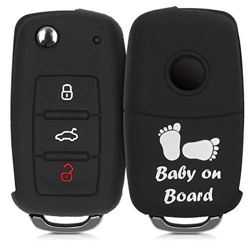 kwmobile Autoschlüssel Hülle kompatibel mit VW Skoda Seat 3-Tasten Autoschlüssel - Silikon Schutzhülle Schlüsselhülle Cover Baby Füße Weiß Schwarz
