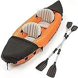 ZXQZ Kayac, Juego de Kayak Inflable para 2 Personas con Remos de Aluminio y Bomba de Aire, Pesca Sentarse En Kayak